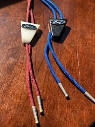 Rare Vintage Ford Logo Resin Bolo Tie Lot Of 2
