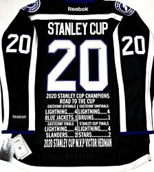 Tampa Bay Lightning 2020 Stanley Cup Champs Road-2-cup Nhl Stats Reebok Jersey