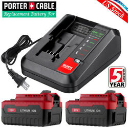 For Porter Cable 20v 6.0ah Lithium 6.0 Battery And Qickly Charger Pcc681l Pcc641