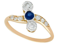 Antique 1920s Sapphire And Diamond Yellow Gold Dress Ring Size N 1/2