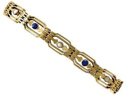 Antique 0.65 Ct Sapphire And Seed Pearl 9k Yellow Gold Gate Bracelet 1910s