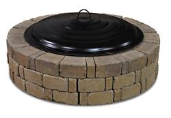 31 Fire Pit Ring Lid Spark Screen Black Round Outdoor Wood Burning Bowl Cover