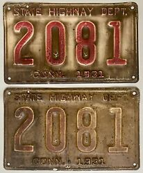 1931 Connecticut State Highway Dept License Plate Pair - Ct