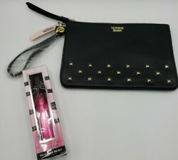 Victoria Secret Black Clutch Women's Wallet Studded Zipper Cute amp; Bombshell $14.20