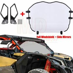 Side Mirrors And Utv Full Windshield For Can Am Maverick X3 Max R Turbo 2017-2020