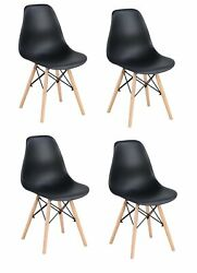4PCS Mid Century Modern PP Plastic Dining Chairs Armless Chairs with Wood Legs