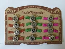 Vintage 40s Occupied Japan Toy Novelty 12 Whistle Wrist Watches On Store Display
