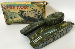 Vintage M-58 Us Army Toy Tank Truck Harusame Seisakusho Hs Japan Tin Friction