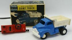 Vintage Toy Andy Gard Plastic Battery Op Remote Controlled Dump Truck Toy In Box