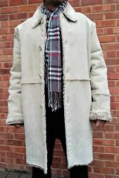 Vintage Real Leather Manandrsquos Size Large Long Sheep Skin Classic Coat.