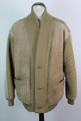 Rupp And Taureck Brown Half Leather Cardigan Size 50