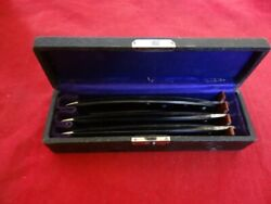 Very Fine Antique Set Of 3 Straight Razors Boxed By Wilbert Cutlery Chicago