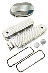 Chevy Aluminum Finned Valve Covers + Gaskets 12 Air Cleaner And Breather Pcv Bbc