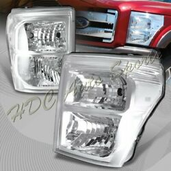 For 2011-2016 Ford F250/f350/f450 Super Duty Chrome Headlights W/clear Reflector