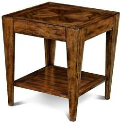 End Table Scarborough House Square Hand Distressed Tapered Legs Shelf