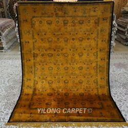 Yilong 5'x7' Gold Hand Knotted Area Rug Antique Handmade Silk Carpet 161ab