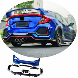 Fit For Honda Civic Type-r 2016-2020 Rear Skid Plate Bumper Board Guard Abs Blue