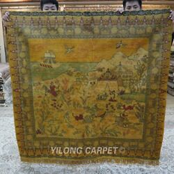 Yilong 5and039x5and039 Square Hunting Tapestry Area Rug Hand Knotted Silk Carpet 162ab