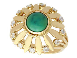 Turquoise And 0.25 Ct Diamond 18 Ct Yellow Gold Dress Ring - Vintage Circa 1950