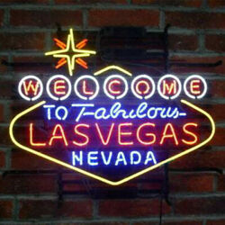 Welcome To Fabulous Las Vegas Nevada 24x20 Neon Sign Lamp Light With Dimmer