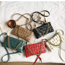 Ladies Weave Clutch Handbags Chain Design Shoulder Bag Women 2020 Luxury Bags AU $35.00