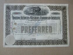 Old 1914 Toledo St. Louis and Western RAILROAD Stock Certificate Indiana $9.99