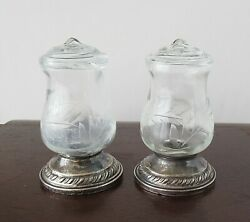 Pair Of Sterling Silver And Etched Glass Quaker Hurricane Salt And Pepper Shakers
