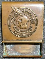 Vintage 1900s Indian Motocycle Brass Match Book Holder Hendee Mfg Motorcycle Nm