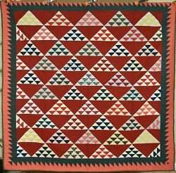 Outstanding Vintage Pyramids Antique Quilt, Sawtooth Border Signed And Dated
