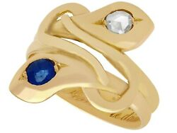0.29 Ct Sapphire And 0.24 Ct Diamond, 18k Yellow Gold Snake Ring - Antique
