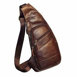 Leather Sling Bag Crossbody Backpack for Men Women Travel Outdoor Business Casua $30.41