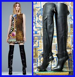 Pre-fall 2014 L 9 Versace Black Leather Ovet-the-knee Boots With Tassels 35 - 5