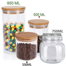 Large Glass Storage Jar With Air Tight Sealed Metal Clamp Lid Tall Kitchen 950ml