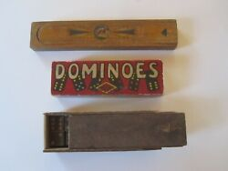 Lot 3 Antique Games 19th C Child's Pencil Box Handmade Dominoes 1950's Dominoes