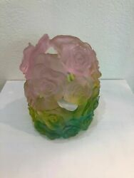 Daum Pate De Verre Glass Green And Pink Candle Holder Rose Numbered Edition