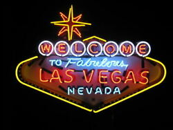 Welcome To Fabulous Las Vegas Nevada 24x20 Neon Sign Hd Vivid With Dimmer A