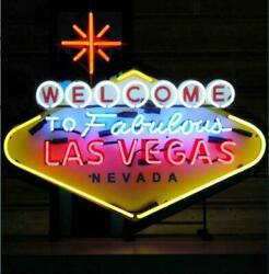 Welcome To Las Vegas 24x20 Neon Light Sign Bar Lamp Hd Vivid With Dimmer