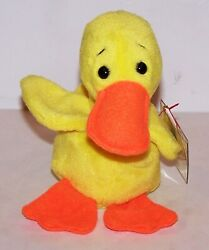Ultra Rare Ty Beanie Baby Quackers Yellow Duck With Multiple Errors Style 4024