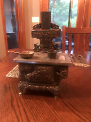 Antique Royal American 1990andrsquos Cast Nickel Display Toy Stove With Pan