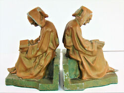 Vintage Pair Of Mid Century Cast Metal Reading Monk Bookends 8.5h X 6w