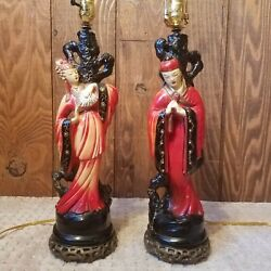 Oriental Pair Of Vintage Lamps With New Wiring And Sockets