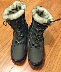 Totes Boots Black Quilted Gray Faux Fur Lined Side Zipper Bridget Women 8.5 M $17.24