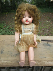 Antique Ideal Doll Baby Doll Approx. 21 Standing Incredible Eyes And Dress