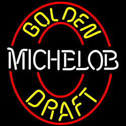 Michelob Golden Draft With Red Circle Neon Sign 17x14 Light Windows Display