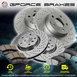 F And R Cross Drilled Rotors And Ceramic Pads For 2012-2015 Mitsubishi Lancer Gt