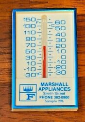 Vintage Plastic Advertising Wall Small Thermometer Marshall Appliances