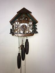 Lg Vintage Handcrafted German/swiss 8 Days Black Forest Cuckoo Clock With Deers