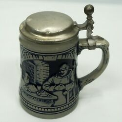 Large Marzi And Remy German Lidded Beer Stein With Monk Cobalt Blue Grey Stoneware