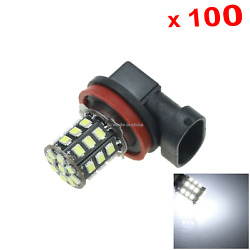 100x White Rv H11 Front Blub Tail Lamp 33 Emitters 2835 Smd Led Pgj19-2 H220