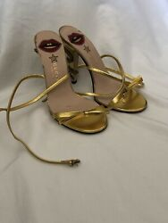 Gucci Gold Sandals Snake Heel Gucci Women Shoes $200.00